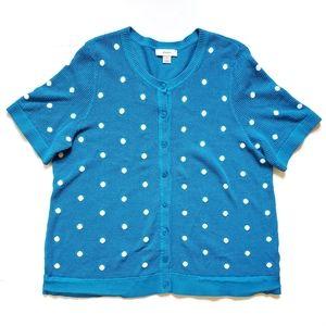 CJ Banks Short Sleeve Cardigan Blue Plus Size 2X